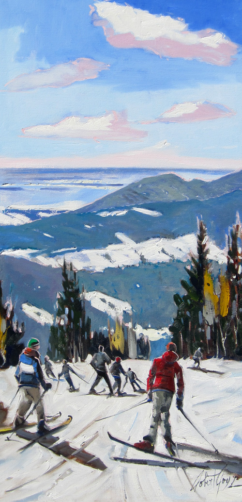 skiing painting art robert roy